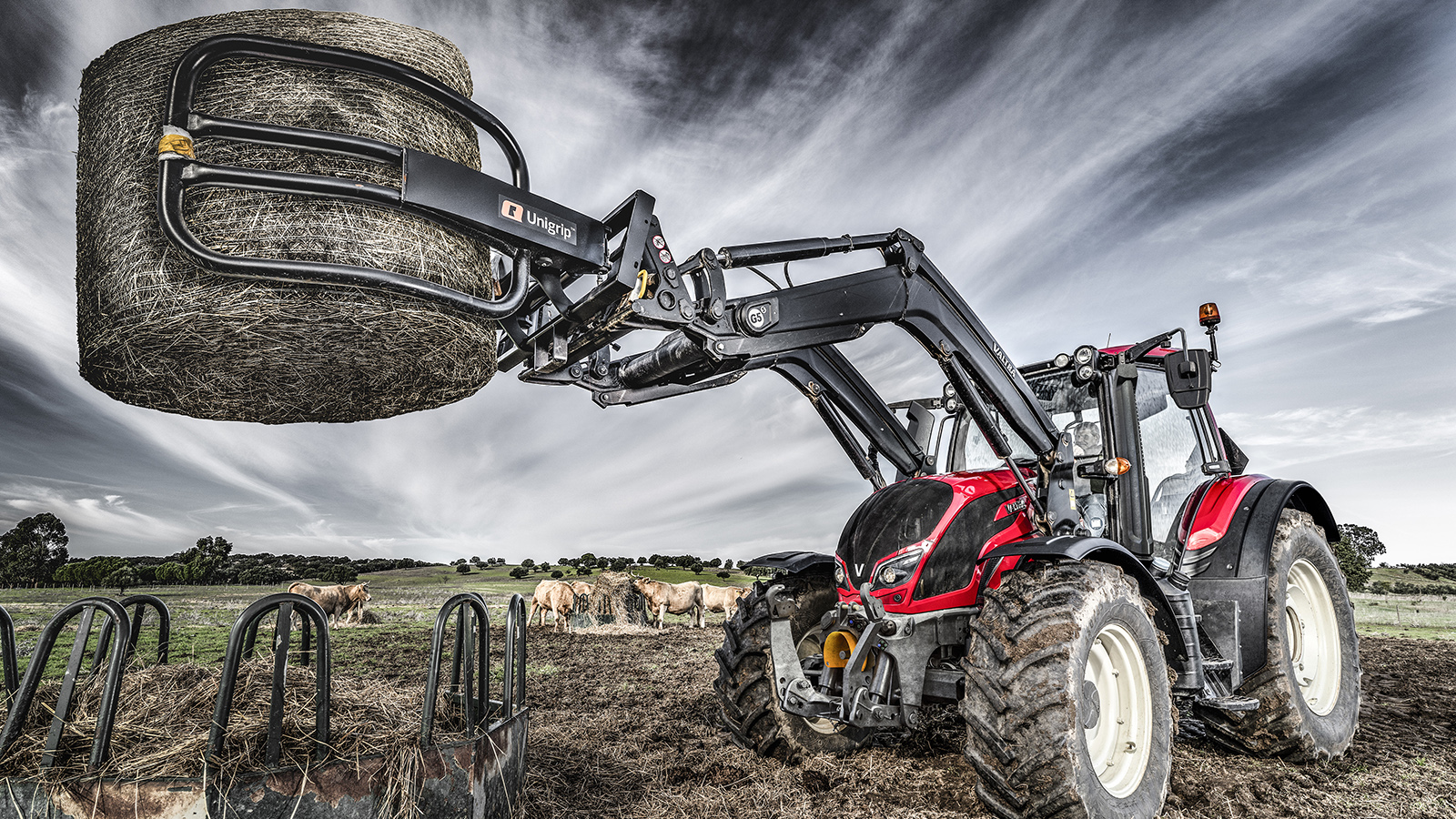 valtra n4 series on the field working with frontloader