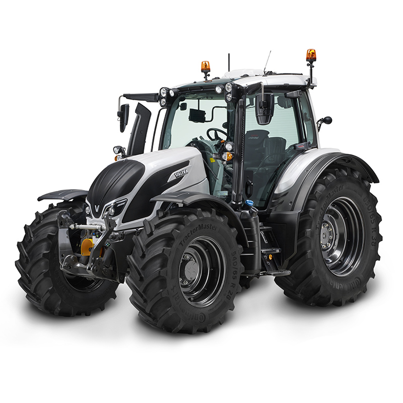 valtra n4 series blue in a studio